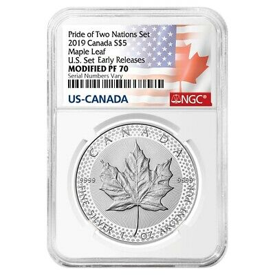 2019 1 oz Modified Proof Silver Maple NGC PF 70 Pride of Two Nations - Two Flags