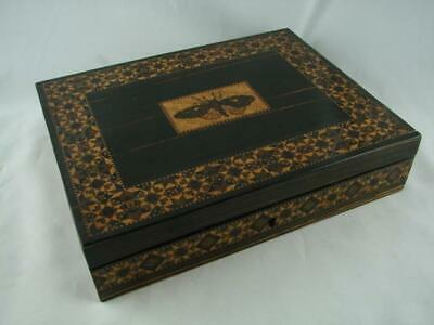 19Th C Writing Box Rosewood & Tunbridge Ware Butterfly Panel & Geometric Border