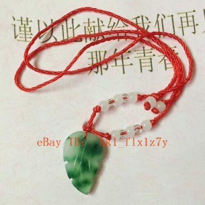 Chinese Natural Green Jade Leaves Pendant Charm Necklace Lucky Amulet Gifts