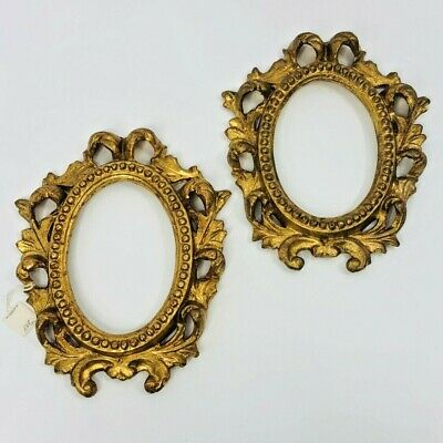 "Gold Leaf Wood Frame Pair Vintage Gesso Ornate Carved Oval Regency 8"" x 10"""