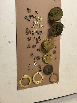 Lot Of Antique Alarm Clock Parts Steampunk Gears Winders Movement Plates