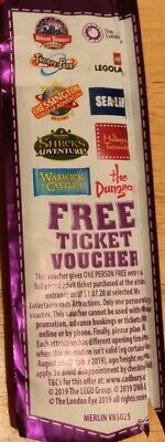 Cadbury's One Person Free Ticket Voucher Legoland Thorpe Park Expires 07/2020
