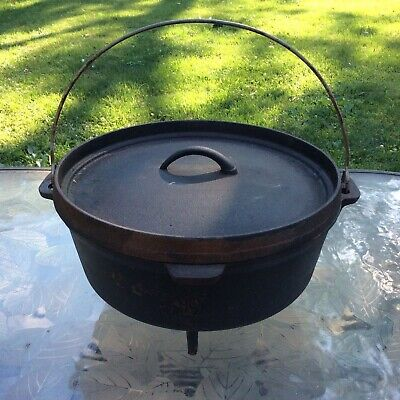 """Old 13"""" Cast Iron 3 Footed 7 Quart Dutch Oven Deep Lid Camp Fire Cooking Pot Lid"""