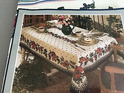 "New Vintage Made in Brazil Floral Tablecloth Oval 60""X84"" Sunweave Linens"