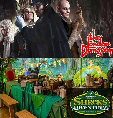 2  x LONDON DUNGEON OR SHREK's ADVENTURES TICKETS PICK YOUR OWN DATES
