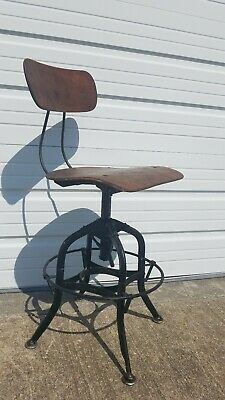 "ORIGINAL 1930's ""TOLEDO UHL ART STEEL"" DRAFTING SWIVEL ADJUST STOOL CHAIR works!"