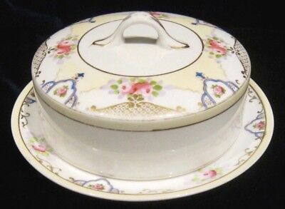 Vintage Noritake Morimura Round Covered Butter or Cheese Dish - Green Mark
