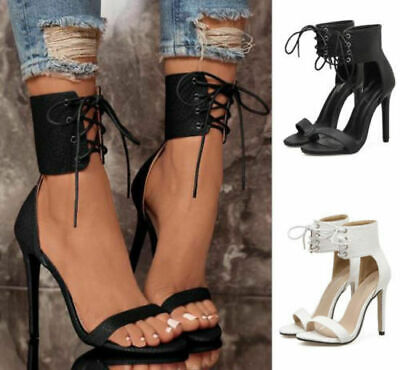 Women Sexy Open Toe High Heels Stiletto Sandals Ankle Strap Cross Lace Up Shoes