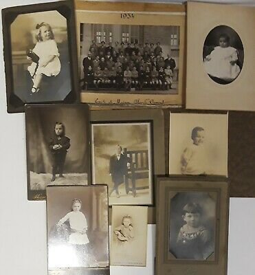 ~9~ ANTIQUE sepia  mostly CABINET CARD PHOTOS of CHILDREN ~boys & girls~