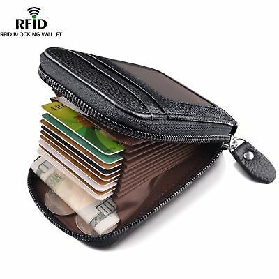 Men's Wallet Genuine Leather Credit Card Holder RFID Blocking Zipper Thin*Pocket