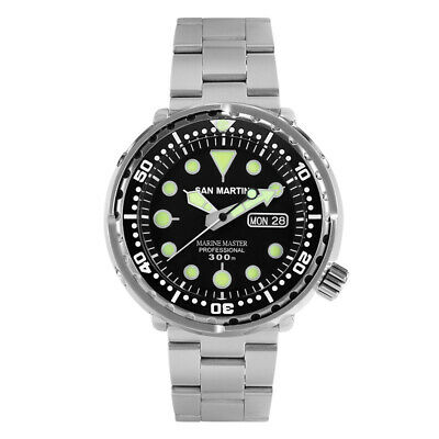 San Martin Diver Watch Men Automatic Stainless Steel 300m Water Resistant Tuna