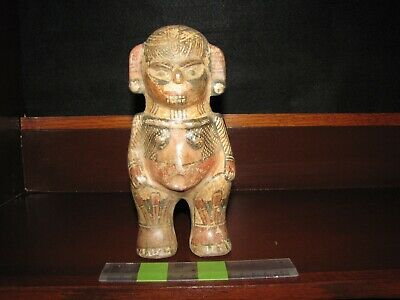 Pre Columbian, Tested, C.R. Large Choice Polychrome Standing Figure, 800 1200 AD