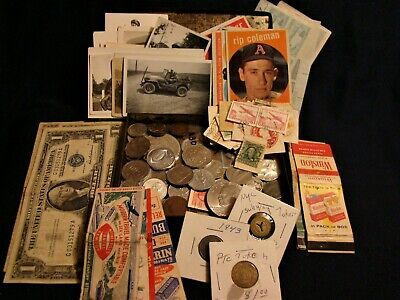 JUNK DRAWER SILVER COINS BILLS Tobacciana Stamps Baseball Cards Morgan Liberty++