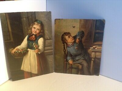 Antique full plate hand painted Folk art tin type paintings Both plates are rare