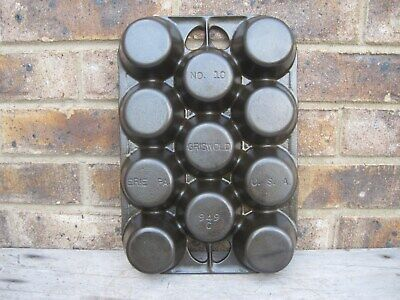 Griswold Cast Iron #10 Popover Gem Muffin Pan #949 Restored & Seasoned NICE!!
