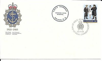 1985 #1075 Royal Canadian Navy 75th Ann FDC with cachet & HMCS Sackville cancel
