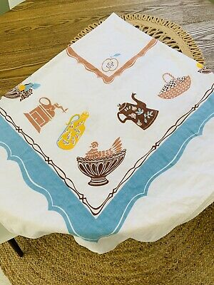 Vtg 50s Retro California HAND PRINTS Tablecloth Teapot Fruit Blue Brown Yellow