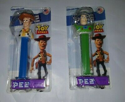 Lot of 2 Disney Toy Story Woody & Buzz Lightyear Pez Candy Dispenser MOC NIP VTG