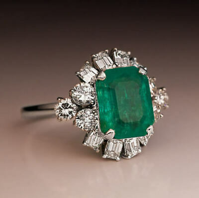 Vintage Art Deco 4.2Ct Green Emerald Engagement Wedding Ring 14k White Gold Over
