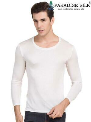 Mens Pure Silk Scoop Neck Long Sleeves Long Johns Top only
