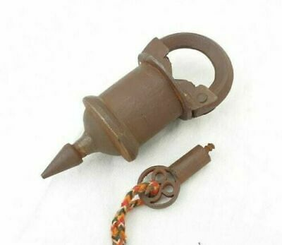 Vintage Old Antique Style Iron Unique Shape Handcrafted Tricky System Lock & Key