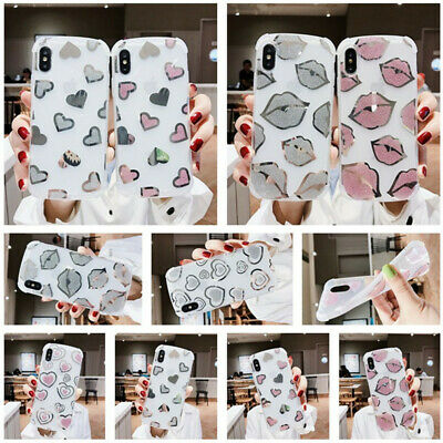 For iPhone Xs Max XR 5s 8+ Bling Heart Lip Pattern Slim Silicone IMD Case Cover