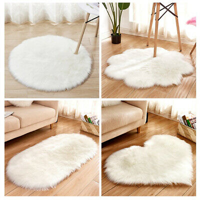 White Sheepskin Rug Fluffy Soft Wool Shaggy Area Rugs Faux Fur Hairy Mat Bedroom