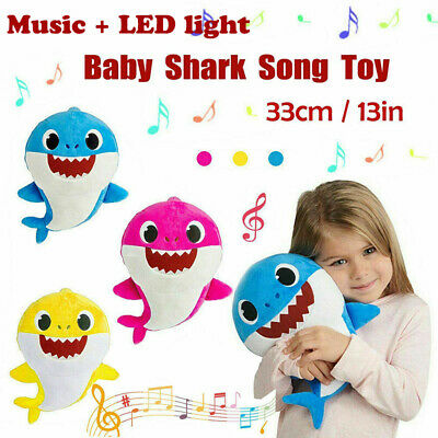 Baby Shark Plush Singing Toys LED Music Doll English Song Kids Musical Toy Gift