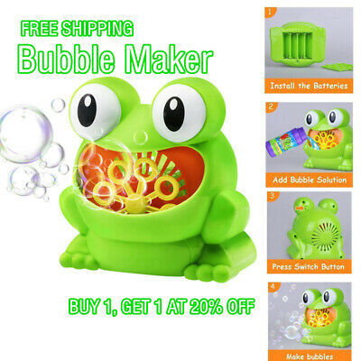 12 Songs Frog Bubble Machine Automatic Bubble Maker Blower Bath Bathtub Kids Toy