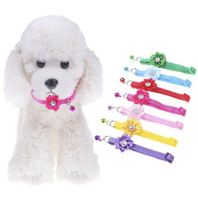 Adjustable dog cat collars With Flower Bells For Small Cats Dogs Necklace G~OY