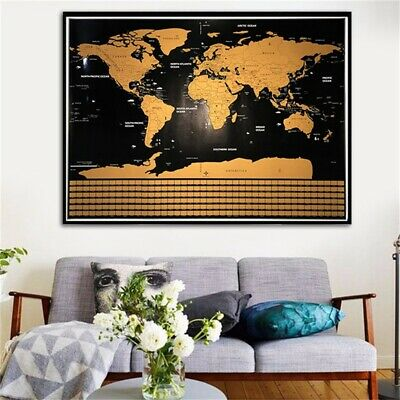 Scratch Off World Map Poster Journal Travel Log Map Of The World Gift Wall Decor
