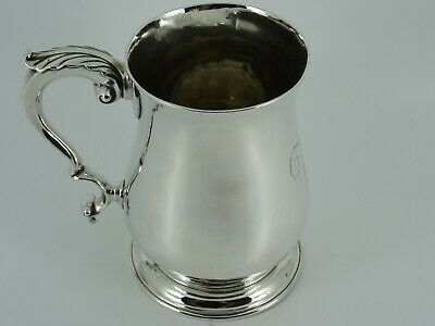 Fine Georgian George Iii Solid Sterling Silver One Pint Tankard London 1763 380G