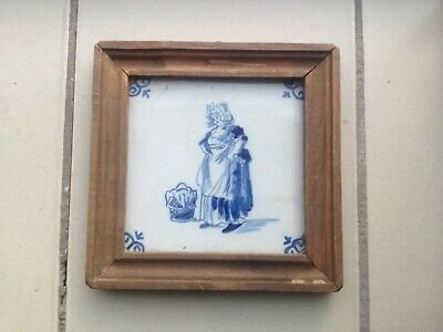 ANTIQUE DUTCH DELFT BLUE AND WHITE Laundry Lady In Wooden Frame Rare