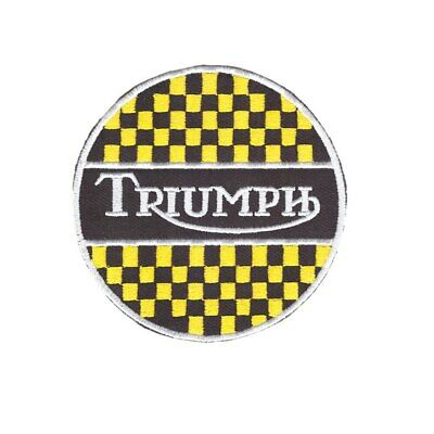8cm Diameter Triumph Motorcycles Embroidered Badge Iron On/Sew On Jacket Jeans