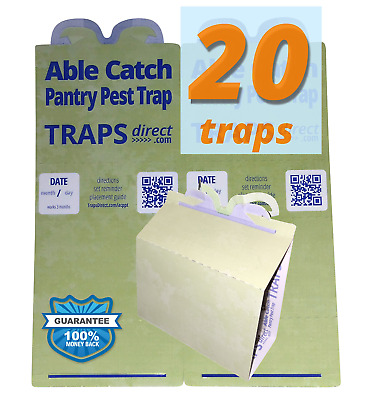 20 Pantry Moth Traps - Pheromone Lure, USA Made, Safe, Natural, Effective 20