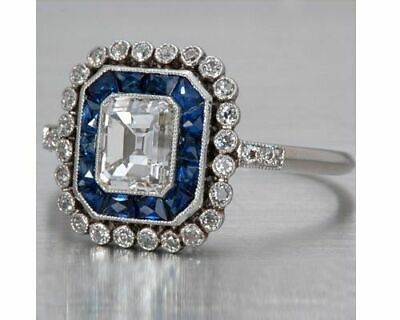 Vintage Art Deco 3.50Ct Emerald & Sapphire Engagement Ring 14k White Gold Over