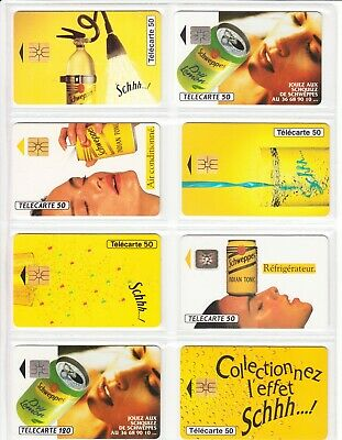 8 Phone Card Set / Telecarte .. France Pack Schweppes Tonic Topic Used/Chip