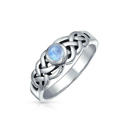 Moonstone Celtic Trinity Knot Triquetra Ring 1MM Band Sterling Silver