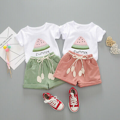 Toddler Kids Baby Girl Watermelon Letter Print Tops + Shorts Outfits Set Clothes