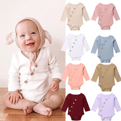 AU Organic Cotton Newborn Baby Boy Girls Infant Romper Jumpsuit Outfits Clothes