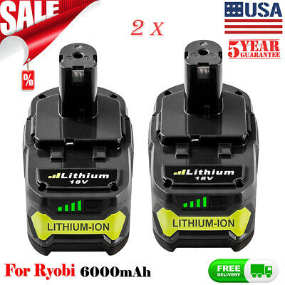 2 Pack 6.0Ah Lithium Battery For Ryobi ONE+ 18V P108 Replacement P104 P102 Tools