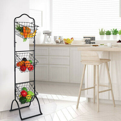 HANGING KITCHEN BASKET 3 Tier Storage Wire Black Fruit ...