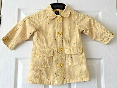 Girls Baby Gap Yellow White Check Floral Summer Coat Jacket Age 2 Years B74