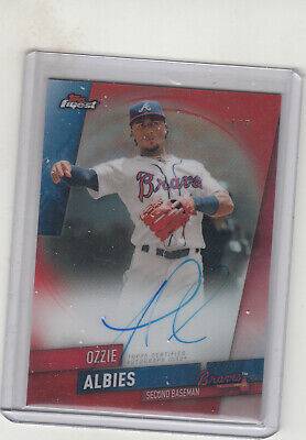 2019 Topps Finest Ozzie Albies Autograph  Red Refractor Card 4/5