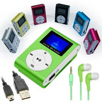 Mini lettore MP3 con Radio FM Music Reader Verde + Cuffie Jack + Cavo Mini USB