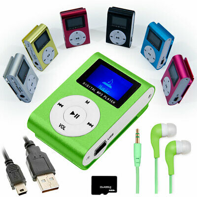 Mini Lettore MP3 con Radio FM Clip Verde + Cavo Mini USB + Cuffia+ Micro SD 8GB