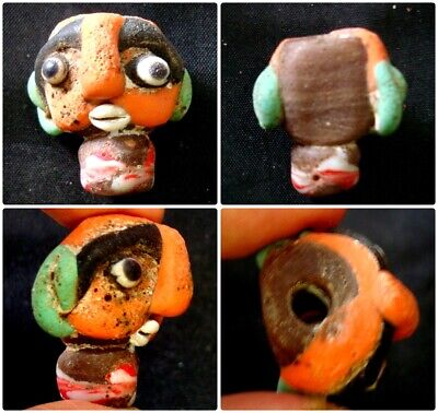 Rare Old Phoenician Body Face Head Mosaic Islamic Glass Bead Pendant 202