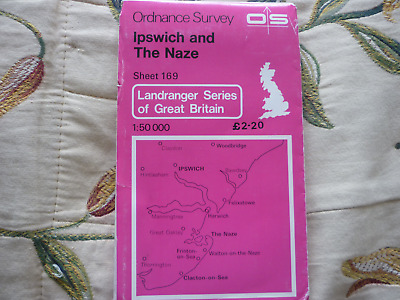 OS Ordnance Survey Map #169 Ipswich & The Naze 1974