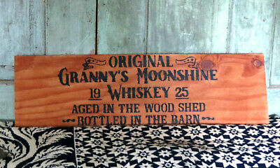 Primitive Granny's Moonshine Whiskey Crate Side Wooden Sign Bottled in the Barn