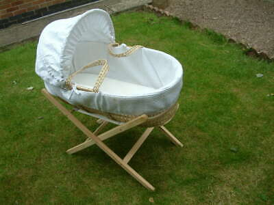 Claire de Lune Woven Basketwork Bedside Crib with Stand